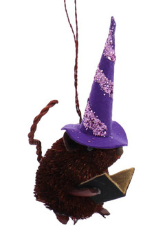 Buri Witch Mouse Halloween Ornament Purple Hat Front