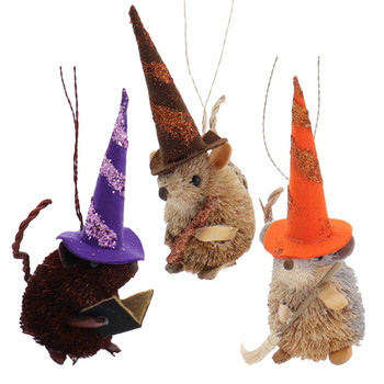 3 pc Buri Witch Mice Halloween Ornaments SET