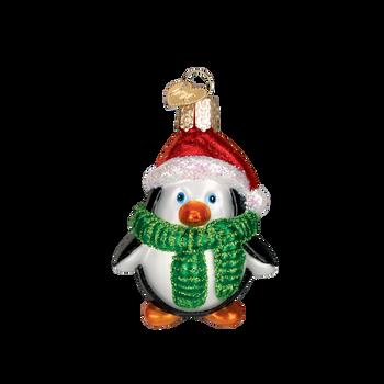 Playful Penguin Glass Ornament