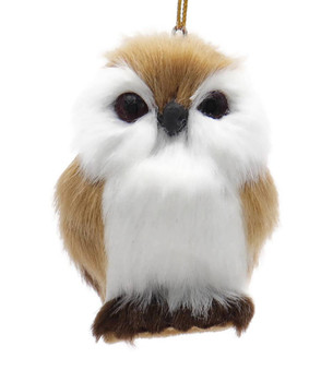 Furry Reddish Brown Baby Owl Ornament