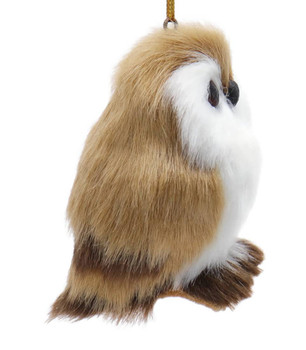 Furry Reddish Brown Baby Owl Ornament Right Side