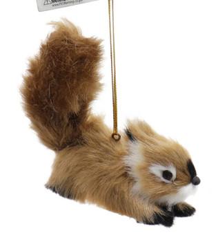 Furry Reddish Brown Baby Squirrel Ornament