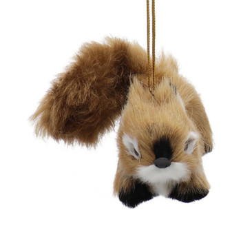 Furry Reddish Brown Baby Squirrel Ornament Front