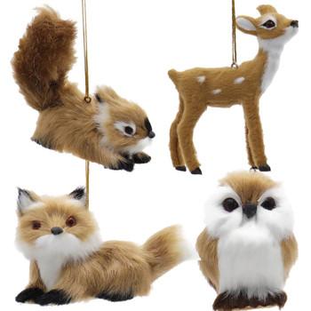 4 pc Furry Light Brown Wildlife Ornaments Set