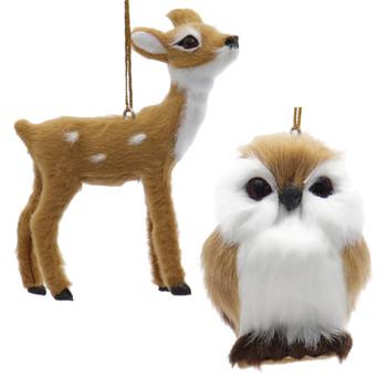 Furry Light Brown Wildlife Ornaments Deer Owl