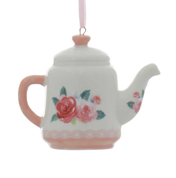 Pink, Lavender Porcelain Teapot Ornament Red Flowers Right Side