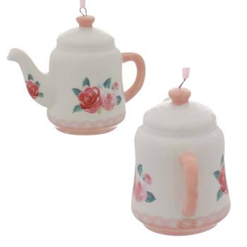 3 pc Pink, Lavender Porcelain Teapot Ornaments SET Red Roses Side Back