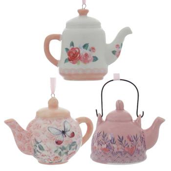 3 pc Pink, Lavender Porcelain Teapot Ornaments SET