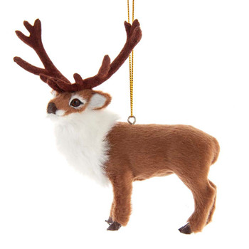 Furry Majestic Brown Reindeer Ornament