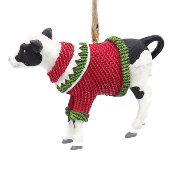 Fun Winter Attire Farm Animal - Baby Cow Ornament Left Side