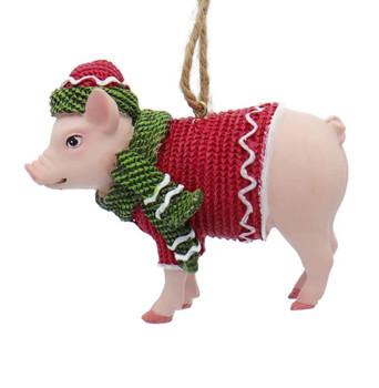 Fun Winter Attire Farm Animal - Baby Pig Ornament