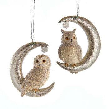 2 pc Owl Standing On Moon Ornaments SET