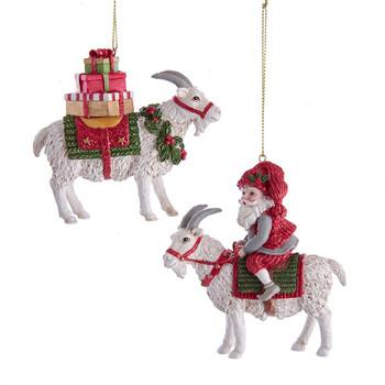 2 pc White Holiday Goat Ornaments SET