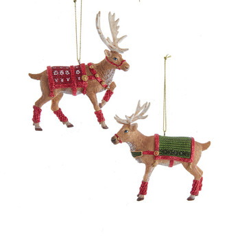 2 pc Reindeer with Blanket Ornaments SET