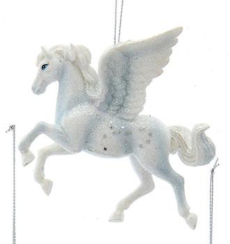 Silver, White Pegasus Ornament