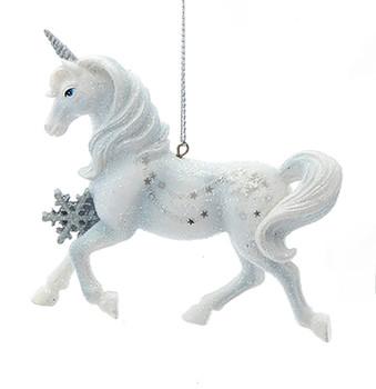 Silver, White Unicorn Ornament