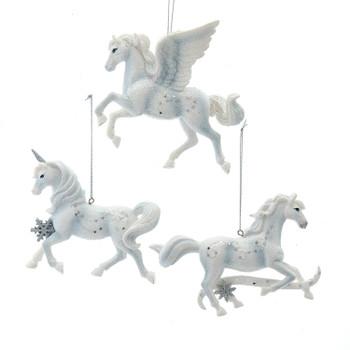 3 pc Horse, Unicorn, Pegasus Ornaments Set