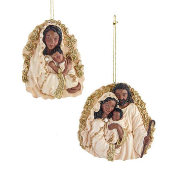 2 pc Ivory Gold African Holy Family Ornament SET