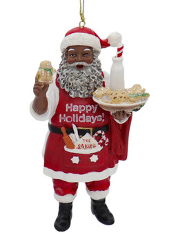 2 pc Bakery Chef African American Santa Ornaments SET Cookies Front