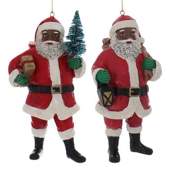 2 pc Curly Beard Black Santa Ornaments SET