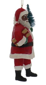 2 pc Curly Beard Black Santa Ornaments SET Present Right Side