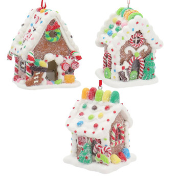 3 pc LED Gummy Candy Gingerbread House Ornaments SET
