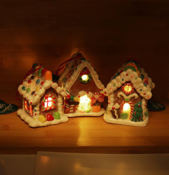 """3 pc LED Gummy Candy Gingerbread House Ornaments SET, 3 3/4"""", KAD4043"""