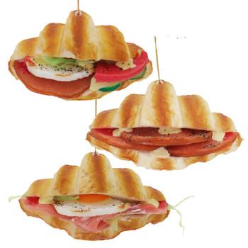 3 pc Imitation Croissant Sandwich Foam Ornament SET