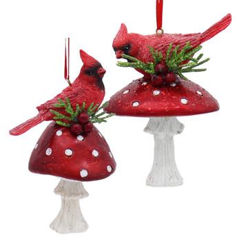 Cardinal On Red Mushroom Ornament
