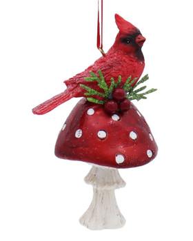 Cardinal On Red Mushroom Ornament Head Up Right Side