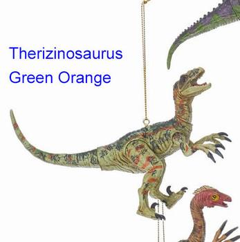 Plastic Gren Orange Therizinosaurus Dinosaur Ornament