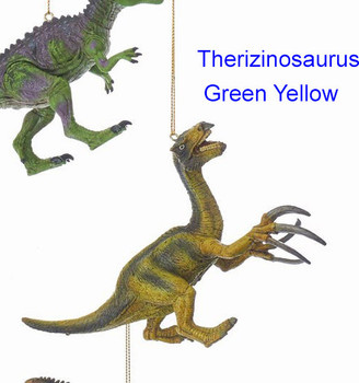 Plastic Green Yellow Therizinosaurus Dinosaur Ornament