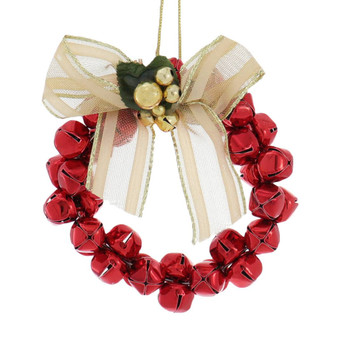 Metal Bells Wreath Ornament Red Front