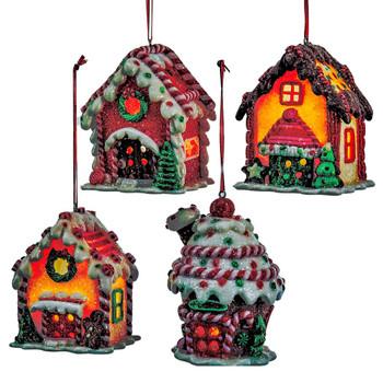 Battery Op LED Claydough Gingerbread House Ornament