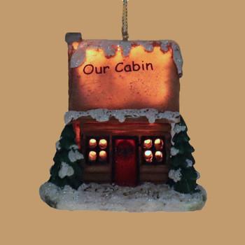 LED Light Up Our Log Cabin Ornament Lighted Side