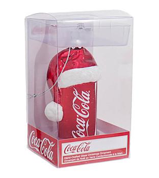 Coca-Cola Can W/Santa Hat Glass Ornament Gift Box