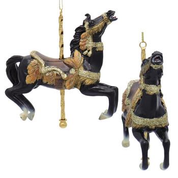 8 pc Carousel Animals Ornament SET Black Side Front