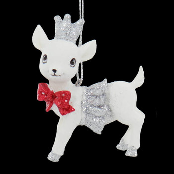 Small Sparkly White Baby Deer Ornament Red Bow Left Side Front