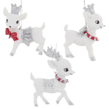 3 pc Sparkly White Baby Deer Ornament SET