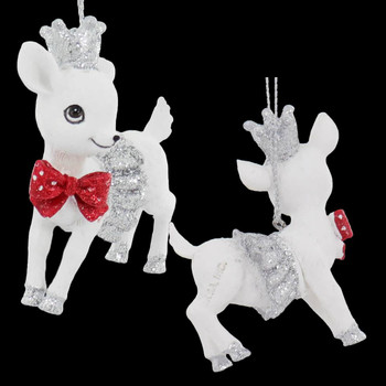 3 pc Sparkly White Baby Deer Ornament SET Red Bow