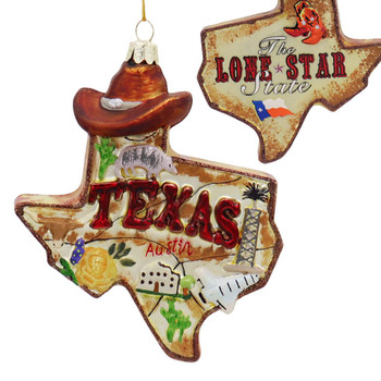 Lone Star State of Texas Glass Ornament