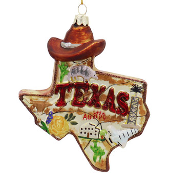 Lone Star State of Texas Glass Ornament Front
