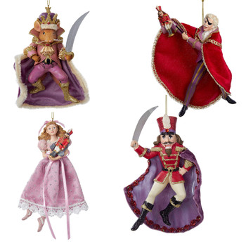 4 pc Elegant Nutcracker Ballet Ornaments SET