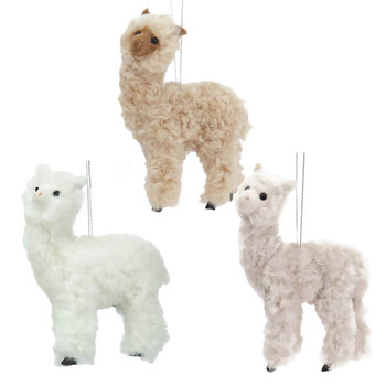 3 pc Plush Fuzzy Alpaca Ornaments SET