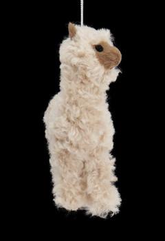 3 pc Plush Fuzzy Alpaca Ornaments SET Tan Side