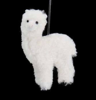Plush Fuzzy White Alpaca Ornament Front