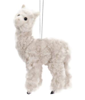 Plush Fuzzy Off White Alpaca Ornament