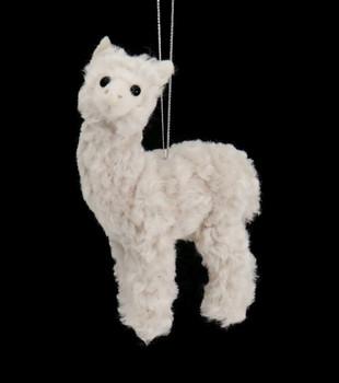 Plush Fuzzy Off White Alpaca Ornament Front