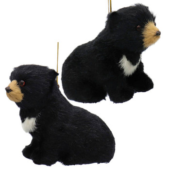Furry Sitting Baby Black Bear Ornament