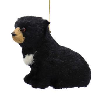 Furry Sitting Baby Black Bear Ornament Facing Left Left Side